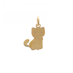 Pendentif Chat Plaqué Or -...